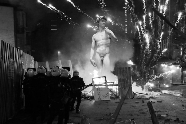 Protest with Michelangelo's David