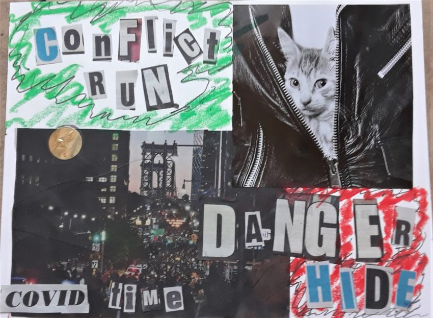 COVID Collage: Conflict run, danger hide